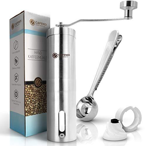 Cafendi © Kaffeemühle Manuell - mit Ersatzteilen und Kaffeelöffel - Mit E-Book für perfekten Kaffegenuss - Robustes Mahlwerk aus Spezialkeramik