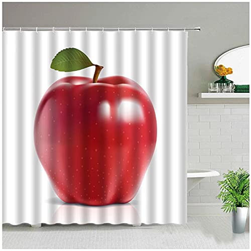 Tiiiytu Obst Apfel Duschvorhang Zitrone Ananas Erdbeere Kirsche Druck Badvorhänge Wasserdichtes Gewebe Badezimmer Dekor Mit Haken-72 Wx 72 Zoll