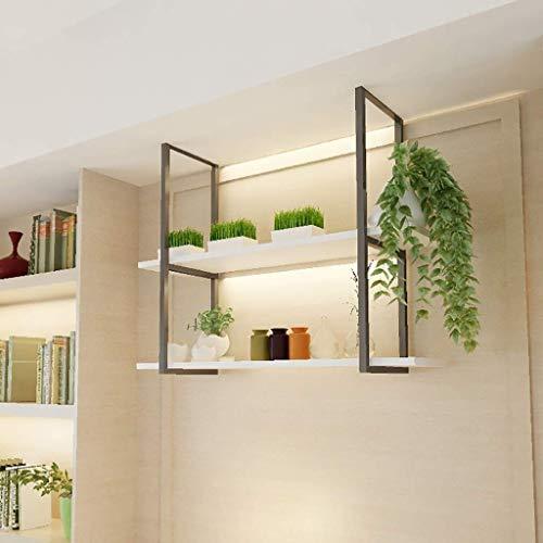 Retro Loft Industrial Style Schmiedeeisen Massivholz 2 Schicht Deckenregal, Einfache Weiße Trennwand Regal, Restaurant Bar Hängenden Regal,100 * 30 * 80cm