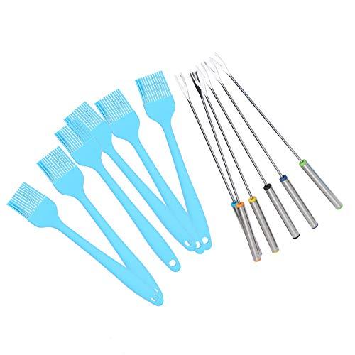 A Salvo Parilla Cepillo Brocheta Colocar, Parilla Colocar 20.5 cm 24.5 cm Inoxidable Acero Shish Hecho de Silicona y Inoxidable Acero(Azul)