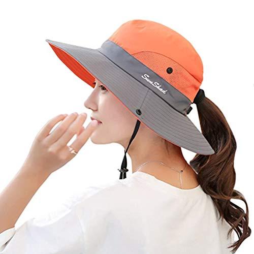 KPWIN Women's Ponytail Bucket Hat Outdoor UV Protection Foldable Mesh Wide Brim Beach Fishing Hat (Orange)