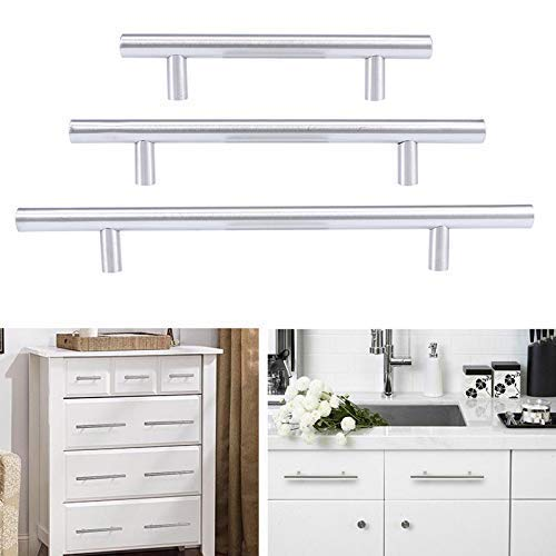 Tiradores de barra en T, 2 piezas de armario de cocina, barra en T, armario de cocina de acero inoxidable plateado, tirador de barra en T, tiradores de cajones de muebles, tiradores de tablero ()