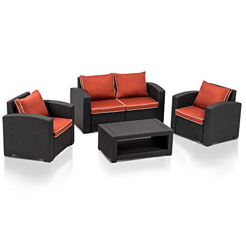 MCombo 5pcs Patio Furniture Set All-Weather Outdoor Sectional Sofa Rattan Pattern Patio Conversation Set w/Seat Cushions 6050-700 (Red)