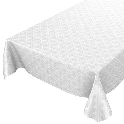 ANRO Mantel de hule, lavable, a cuadros, monocolor, blanco, estampado damasco, 200 x 140 cm