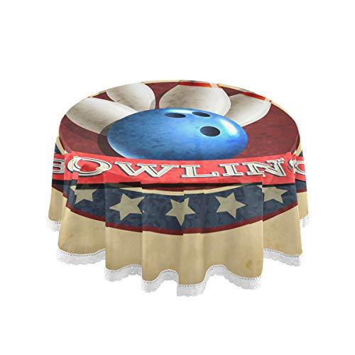 LZXO Tischdecke, groß, 152,4 cm, runde Tischdecken, Sport Bowling-Ball, Muster, wasserabweisend, rutschfest, rund, Tischdecke für Kinder, Party, Esszimmer, Küche