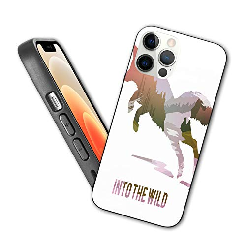 Compatible with iPhone 12 Pro Max case Jumping Fox Silhouette with Woodland Wilderness Hunting with Soft TPU Bumper and Hard PC Back(6.7 inch)