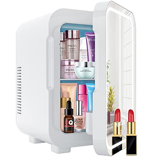 Mini Frigo 8 Litri ,con specchio cosmetico da luce LED,Frigo con Funzione Caldo Freddo,applica a per camera da letto, dormitorio, auto, è un'ottima scelta per la cura della pelle e cosmetici