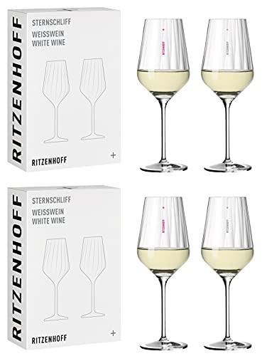 Dekomiro Ritzenhoff Sternschliff Weißwein 4er-Set mit Glasreinigungstuch