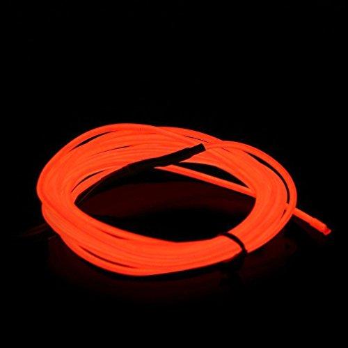 sourcing map Orange néon Light Glow Fil EL Corde w Chargeur