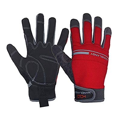 HANDLANDY Work Gloves Mens & Women, Utility Safety Mechanic Working Gloves Touch Screen, Flexible Breathable Yard Work Gloves (Large, Red)