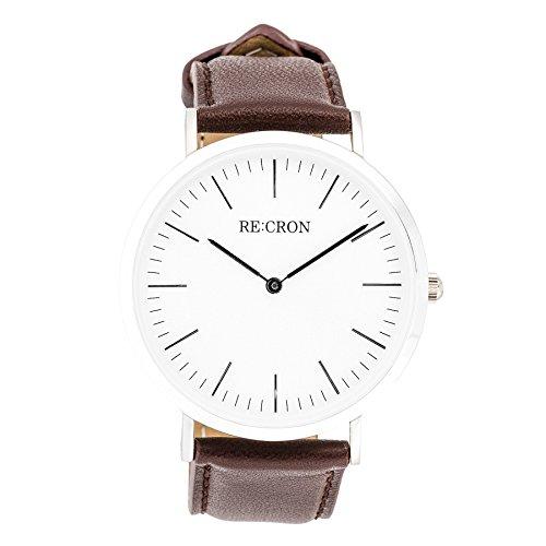 RE:CRON Unisex Reloj de Pulsera Acero Inoxidable 40 mm con Pulsera de Piel Marron