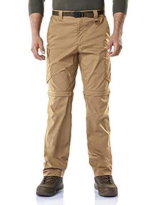 CQR Men's Convertible Cargo Pants, Water Repellent Hiking Pants, Zip Off Lightweight Stretch UPF 50+ Work Outdoor Pants, Convertible Cargo with Belt(txp403) - Coyote, 38W x 32L