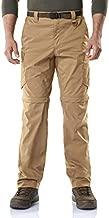 CQR Men's Convertible Cargo Pants, Water Repellent Hiking Pants, Zip Off Lightweight Stretch UPF 50+ Work Outdoor Pants, Convertible Cargo with Belt(txp403) - Coyote, 34W x 34L