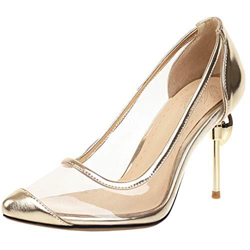 AIMODOR Transparent High Heels Spitze Pumps Pfennigabsatz Schuhe Damen Stiletto Geschlossen mit Absatz Gold 37