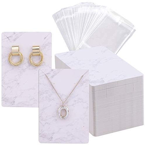 120-Set Earring Display Cards with Self-Seal Hanging Bags, Necklace Display White Paperboard Earring Holders Tags for Hanging Ear Studs, Earrings, Jewelry (White Marble, 3.5 x 2.4 Inches)