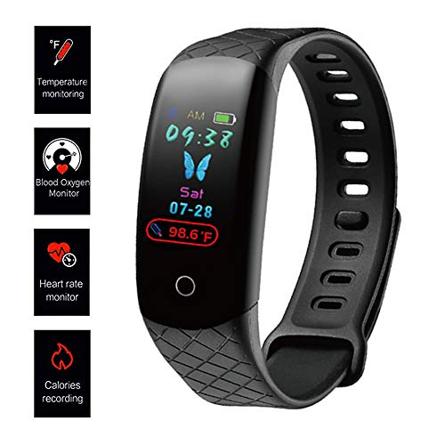 ALSEYE Fitness Tracker HR, Activity Tracker Watch with Heart Rate Monitor Sleep Monitor Blood Pressure Monitor Waterproof Smart Band with Pedometer Thermometer for Women Men (Black) Activity Features Fitness Sports Trackers