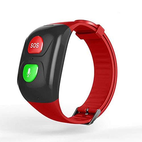 CESSBO Bracelet Intelligent GPS pour Personnes âgées SOS avec Fonction d'alarme Parachute, Rouge