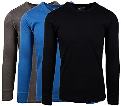 AMERICAN ACTIVE Men's 3 Pack 100% Cotton Fleece Lined Base Layer Long Sleeve Thermal Crew Neck Shirt (3 Pack-Denim/Charcoal/Black, Small)