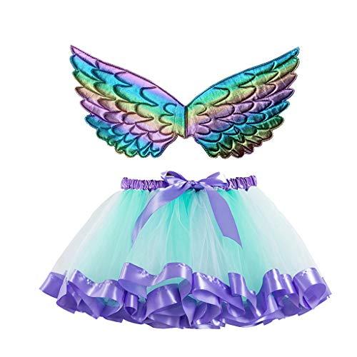 Lazzboy Kinder Mädchen Ballettröckchen Weihnachtsfeier Tanz Ballett Kleinkind Kostüm Rock+Flügel Sets Schmetterling Tüllrock Bunt Regenbogen Tütü Ballettrock Tutu(Blau,M)