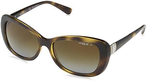 VOGUE Women's Plastic Woman Rectangular Sunglasses, Dark Havana, 54.7 mm
