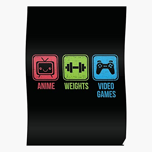 BlueSkylo Gamer Gym Anime Bodybuilding Workout Fitness Otaku Insaiyan Geschenk für Wohnkultur Wandkunst drucken Poster 11.7 x 16.5 inch