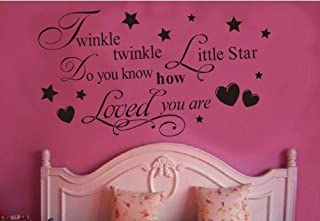 Twinkle Little Star Do You Know How Loved Are - Girl's or Boy's Room Kids Baby Nursery - Vinyl Wall Decal, Lettering Art Letters Decor, Quote Design Sticker, Saying Decoration