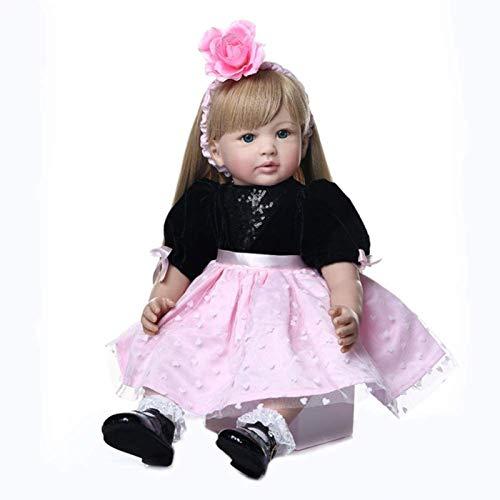SERBHN Renacer Muñecas De 60 Cm De Simulación Completa De Silicona Renacer Muñecas De Pelo Largo Princesa Muñeca Bjd Confort Juguetes para Niñas Bebes