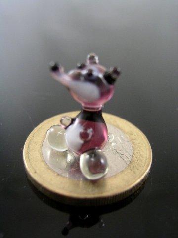 Daks mini glazen figuur - miniatuur figuur van glas violet - glazen dier lila decoratieve zetkast vitrine