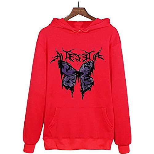 Sudadera con capucha para mujer, diseño de mariposas, con estampado de mariposas, con cordón, suelta, con bolsillos, color rojo y XL