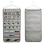 ANIZER Schmuck-Organizer mit Reißverschluss, zweiseitig, zum Aufhängen mit Aufhänger für Reisen und zu Hause (28 transparente Taschen mit Reißverschluss und 20 Klebebandschlaufen, grau)