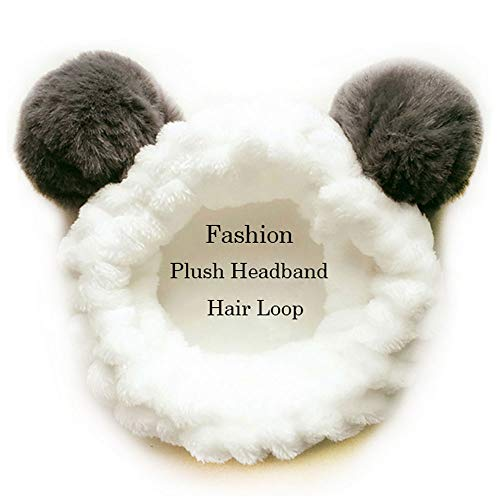 Makeup Stirnbänder für Waschen Gesicht,Dusche,Spa Maske, Frauen Mädchen, Plüsch Stirnband Haarschleife,Elastische Korallen Fleece Haarband, mit Niedlichen Pompons Grau (Panda)