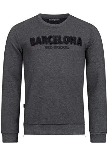 Redbridge Sudadera con Bordado de Barcelona Suéter para Hombre Gris Oscuro S