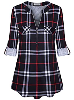 Bulotus Work Blouses for Women Office 3/4 Sleeve Business Casual Plaid Tunic Tops Black Plaid XXX-Large