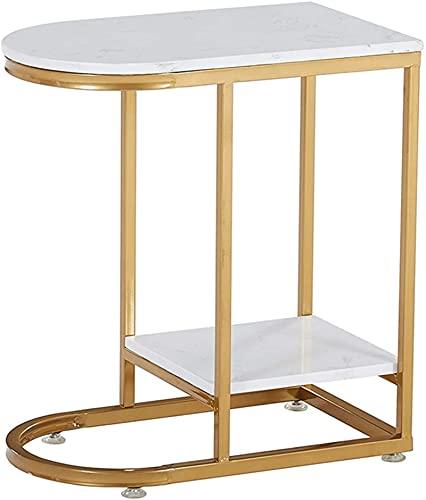 CSD Mesa de Centro de Sala de Estar con Almacenamiento, Nórdico Hierro Forjado Doble Mesa de Oro Simple Sala de Estar Mármol Sofá Mesa de Esquina (Color : Gold)
