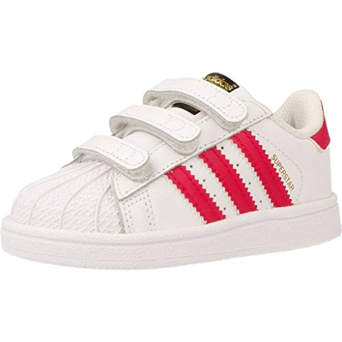 adidas Superstar CF i, Scarpe da Ginnastica Basse Unisex-Bambini, Bianco (Footwear White/Bold Pink/Footwear White), 21 EU