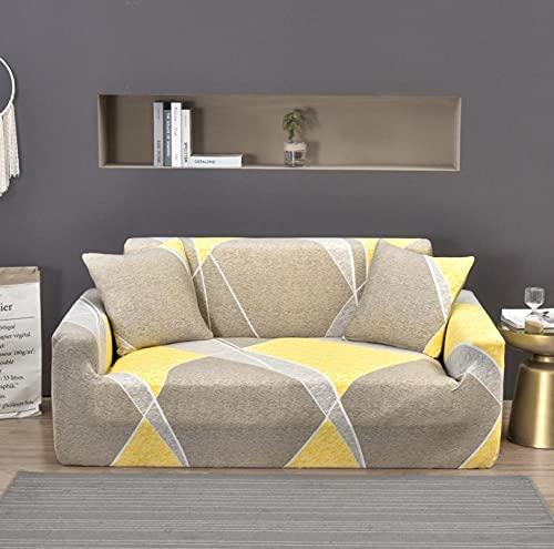 Funda Sofa 4 Plazas Chaise Longue Hermoso Gris Amarillo Fundas para Sofa con Diseño Elegante,Cubre Sofa Ajustables,Fundas Sofa Elasticas,Funda de Sofa Chaise Longue,Protector Cubierta para Sofá
