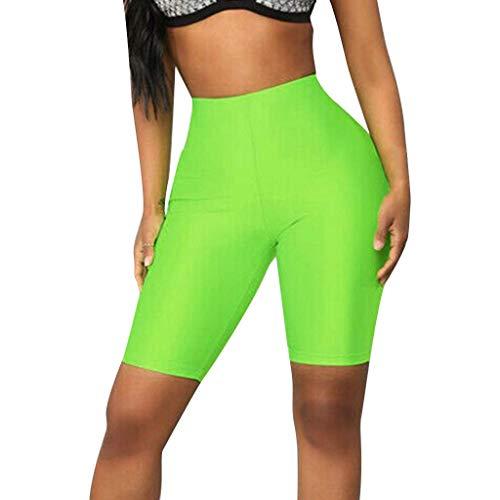 Yoga Mujeres Ing Pendiente Elástico Modernas Bicicletas Elásticos Casual Estiramiento Pantalones Cortos De La Cintura De Las Polainas De Deportes Pantalones Casuales ( Color : Green , One Size : S )