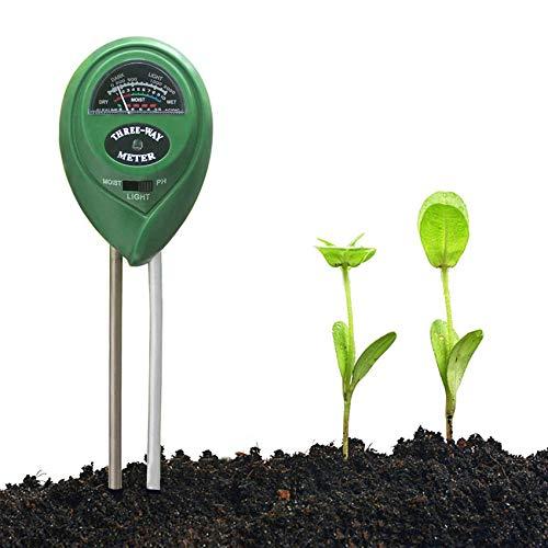 EasyULT 3 in 1 del PH Terreno Misuratore Strumento/Luce Solare/Test PH del Terreno, PH-Metro Terreno Test del Suolo, per Luce, umidità, Acidi e Alcalini Strumenti per Piante/Fiore/Erba(Verde)