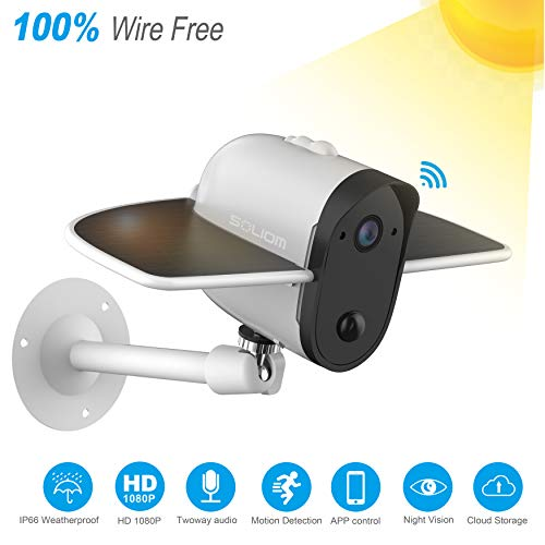 Wireless IP Outdoor Solar Camera, SOLIOM 1080p Wireless Security Camera with Built-in 4000Mah...