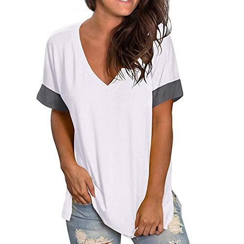 SLYZ Primavera Y Verano De Las Mujeres Europeas Y Americanas Nueva Camiseta De Fondo De Color Sólido con Cuello En V De Manga Corta Jersey De Empalme Camiseta De Mujer