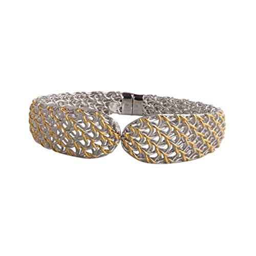 SeeBeaUty Pulseras de Encaje Hecho a Mano 925 Plata Elegante Encaje artesanía joyería Moda Creativa Pulseras Mano Ornamento