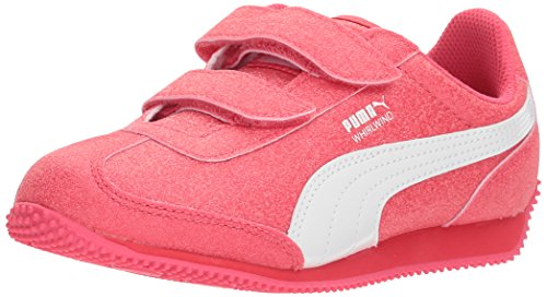PUMA Kids' Whirlwind Glitz Hook and Loop Sneaker, Paradise Pink White, 3 M US Little Kid