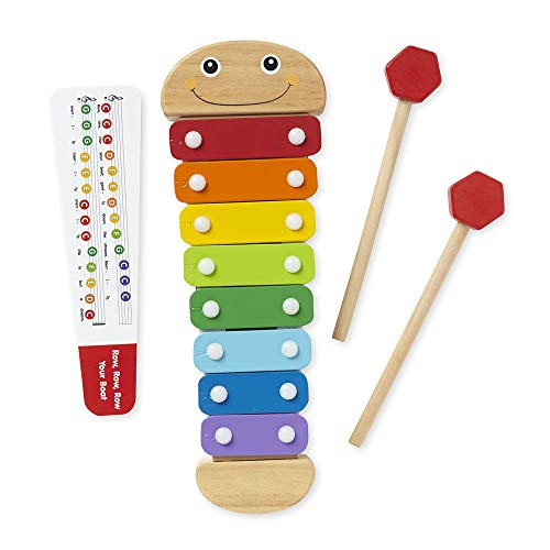 "Melissa & Doug Caterpillar Xylophone, Musical Instruments, Rainbow-Colored, One Octave of Notes, Self-Storing Wooden Mallets, 18"" H x 6.2"" W x 2"" L"