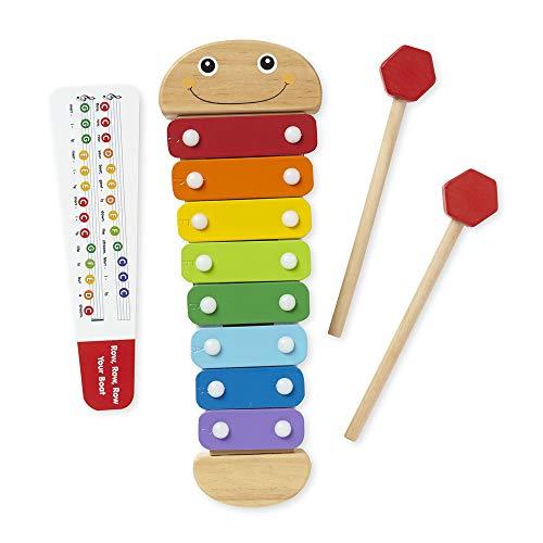 Melissa & Doug Xilófono de oruga, instrumentos musicales, colores de arco iris, una octava de notas, mazos de madera auto almacenables, 45.72 cm alto x 15.748 cm ancho x 5.08 cm largo