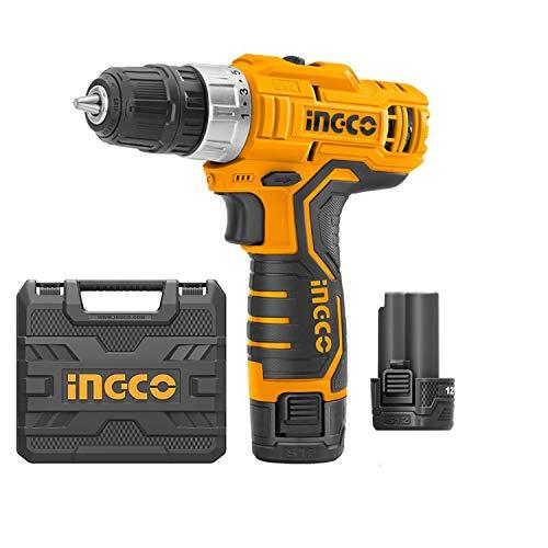 Ingco Cdli1232 - Taladro atornillador de batería de 12 V y 2 pilas incluidas en maletín profesional