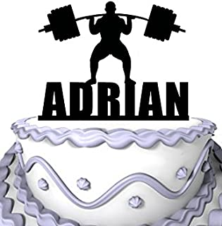 Meijiafei Personalized Cake Topper -A man is weightlifting athlete Personalized Name Cake Decoration