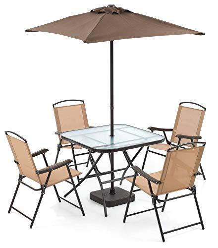 Set Tavolo con 4 Sedie Pieghevoli e Ombrellone da Giardino in Ferro Daybreak Marrone e Beige