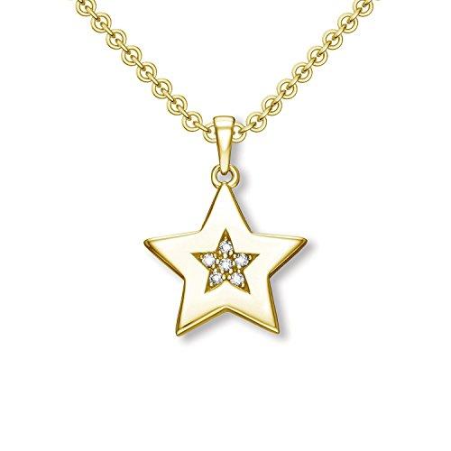 Sternanhänger Stern Kette Gold (Silber 925 hochwertig vergoldet) Sternchen Zirkonia Anhänger inkl. Luxus-Etui + Taufkette Taufanhänger Taufe kleiner Stern Silber mit Halskette FF478 VGGGZIFA45