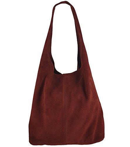 Freyday Damen Ledertasche Shopper Wildleder Handtasche Schultertasche Beuteltasche Metallic look (Dunkelrot)
