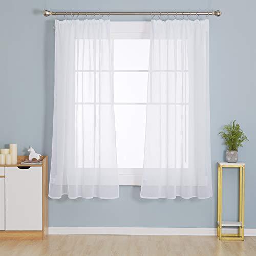 Deconovo Gardinen mit Kräuselband Wohnzimmer Stores Schal Transparent Vorhänge für Schiene Schlafzimmer Leinenoptik Weiß 175x140 cm 2er Set